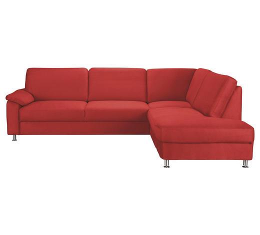 WOHNLANDSCHAFT Rot Mikrofaser  - Rot/Alufarben, KONVENTIONELL, Textil/Metall (266/202cm) - Beldomo System