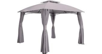 PAVILLON Stahl Grau - Anthrazit/Grau, Design, Textil/Metall (400/270/300cm) - Ambia Garden