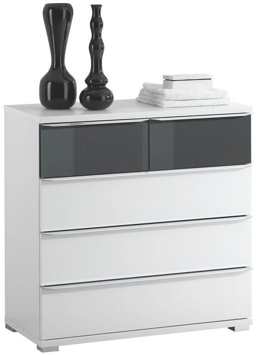 KOMMODE Anthrazit, Weiß - Anthrazit/Alufarben, Design, Glas/Kunststoff (80/80/40cm) - Moderano