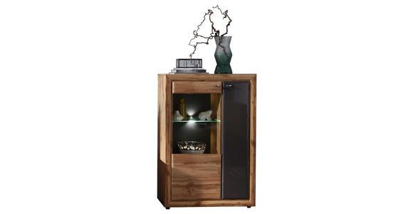 HIGHBOARD 90/132/37 cm  - Edelstahlfarben/Eichefarben, KONVENTIONELL, Glas/Holzwerkstoff (90/132/37cm) - Cantus