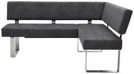 ECKBANK 182/137 cm  in Anthrazit, Silberfarben  - Edelstahlfarben/Anthrazit, Design, Textil/Metall (182/137cm) - Dieter Knoll