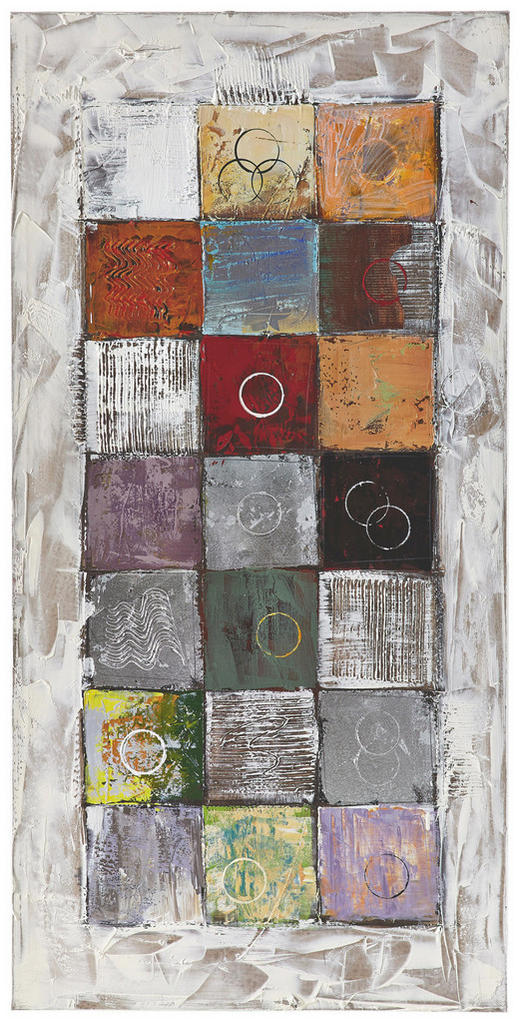 Strukturen ÖLGEMÄLDE - Multicolor/Naturfarben, Design, Holz/Textil (70/140cm) - Monee