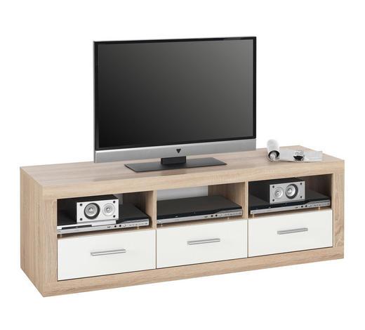 TV DÍL, bílá, Sonoma dub - bílá/barvy stříbra, Design, kompozitní dřevo/umělá hmota (147/49/45cm) - Boxxx