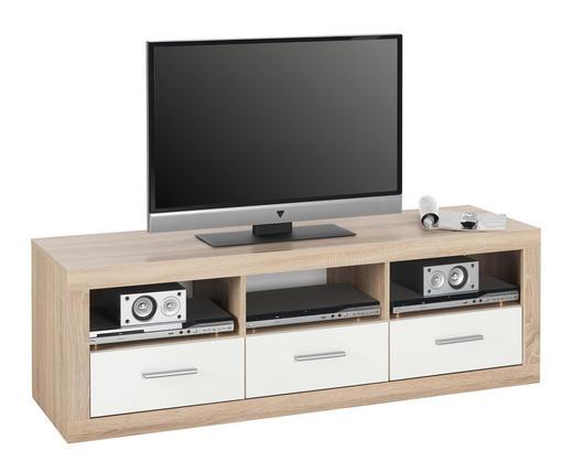 TV-ELEMENT Sonoma Eiche, Weiß - Silberfarben/Weiß, Design, Kunststoff (147/49/45cm) - Boxxx