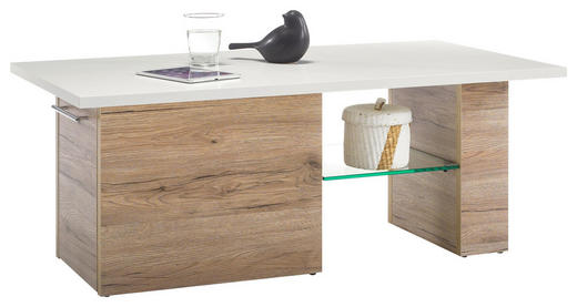 COUCHTISCH rechteckig Eichefarben, Weiß - Chromfarben/Eichefarben, KONVENTIONELL, Glas/Metall (108/60/42,5cm) - Carryhome