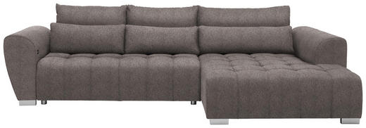 WOHNLANDSCHAFT in Textil Hellbraun - Hellbraun/Silberfarben, MODERN, Kunststoff/Textil (304/218/cm) - Carryhome