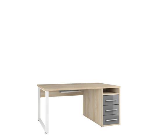 SCHREIBTISCH Grau, Weiß, Eichefarben  - Eichefarben/Alufarben, Design, Glas/Holzwerkstoff (150/75/70cm)