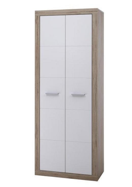 SCHRANK Eichefarben, Weiß - Eichefarben/Silberfarben, KONVENTIONELL, Holzwerkstoff/Kunststoff (74/188/37cm)