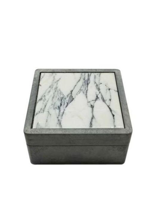 DEKOBOX 12,5/12,5/6 cm - Weiß/Grau, Basics, Holz/Keramik (12,5/12,5/6cm) - Ambia Home