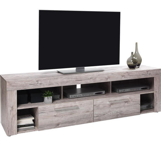 LOWBOARD Melamin Eichefarben  - Eichefarben/Silberfarben, Design, Kunststoff (180/52,5/41cm) - Carryhome