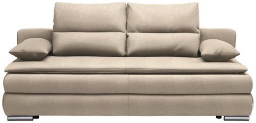 SCHLAFSOFA Webstoff Beige - Beige/Silberfarben, KONVENTIONELL, Kunststoff/Textil (207/94/90cm) - Venda