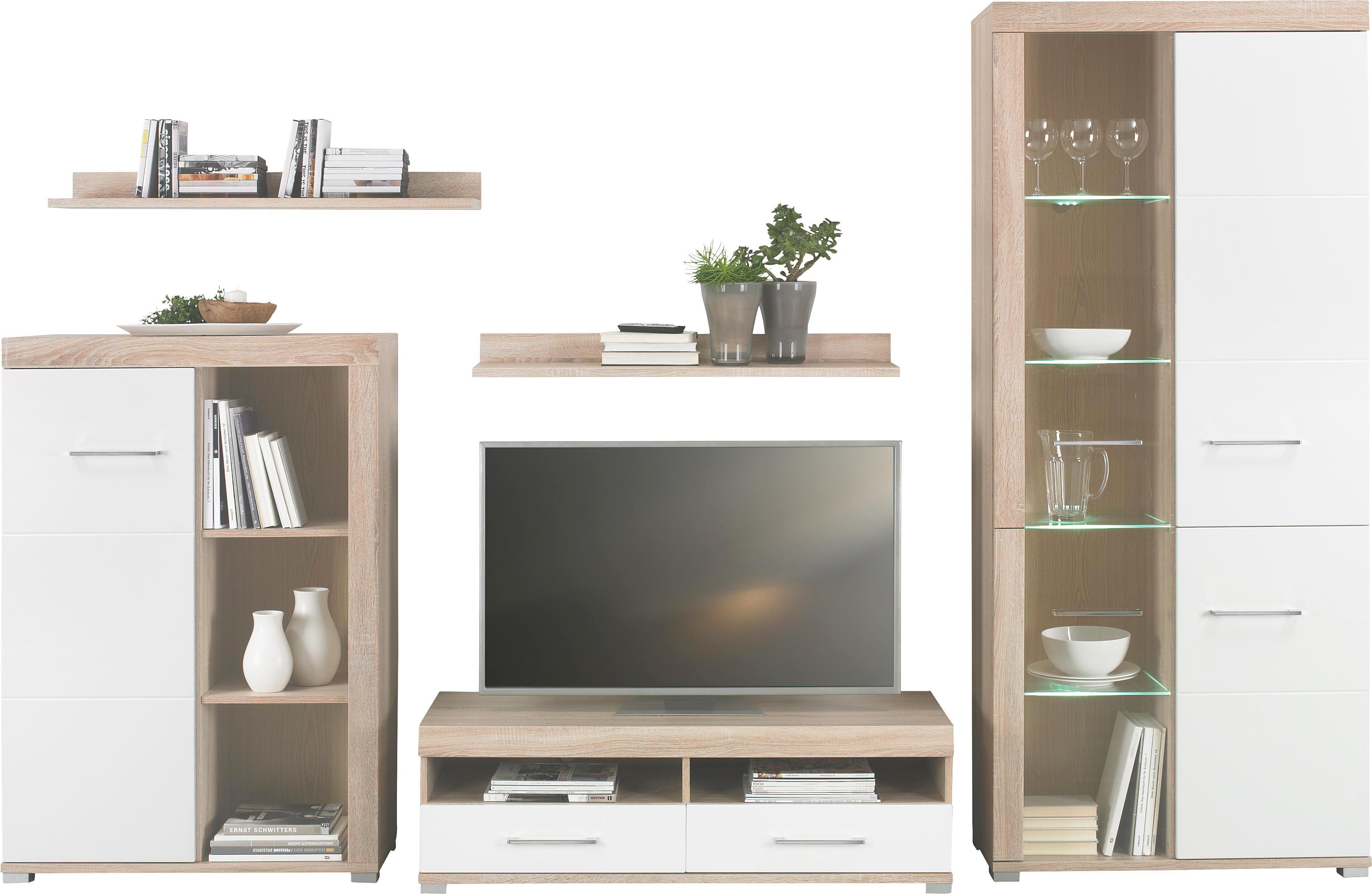 Wonderful WOHNWAND Sonoma Eiche, Weiß   Chromfarben/Alufarben, Design, Glas/Holz (