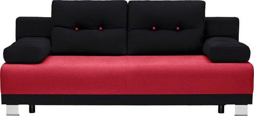 SCHLAFSOFA in Textil Rot, Schwarz - Rot/Alufarben, Design, Kunststoff/Textil (200/84/94cm) - Carryhome
