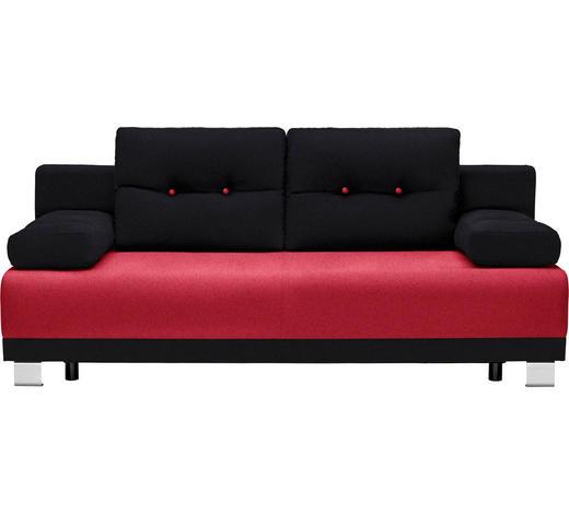 SCHLAFSOFA Webstoff Rot, Schwarz - Rot/Schwarz, Design, Kunststoff/Textil (200/84/94cm) - Carryhome