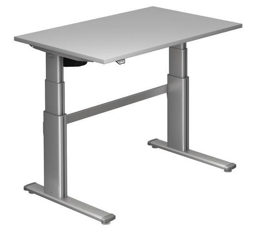 SCHREIBTISCH - Silberfarben/Grau, Design, Holzwerkstoff/Metall (120/66-130/80cm)