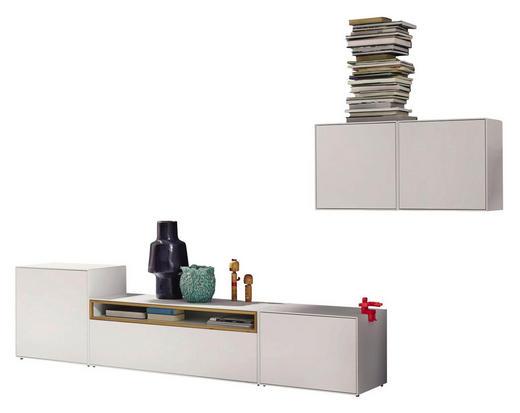 WOHNWAND Eiche furniert Eichefarben, Weiß - Eichefarben/Weiß, Design, Holz (308/156/44,8cm) - Hülsta - Now