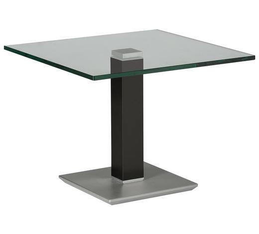 BEISTELLTISCH in Metall, Glas 60/60/46-65 cm - Edelstahlfarben/Grau, Design, Glas/Kunststoff (60/60/46-65cm)