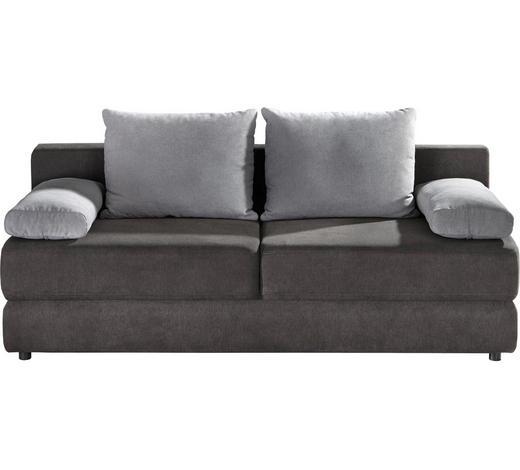 SCHLAFSOFA Webstoff Grau, Hellgrau - Hellgrau/Schwarz, Design, Kunststoff/Textil (208/80/100cm) - Carryhome