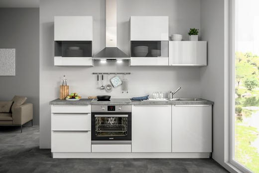 Küchenblock ohne E-Geräte Soft-Close-System, Spüle - Weiß, Design (240,5cm) - SetOne by Musterring