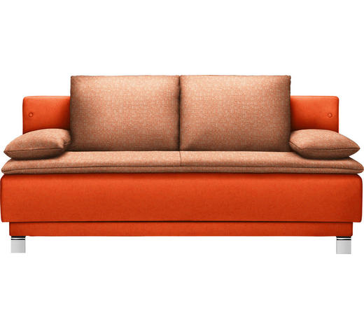 SCHLAFSOFA in Textil Orange  - Orange, Design, Textil/Metall (200/85/90cm) - Joka