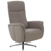 RELAXAČNÍ KŘESLO, pravá kůže, relaxační funkce, nastavitelná opěrka hlavy - šedá/barvy chromu, Design, kov/kůže (71/110/83cm) - Beldomo Speed