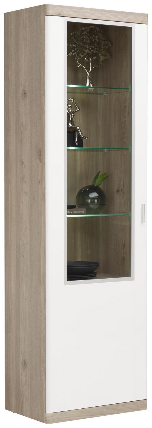 VITRINE in Eichefarben, Weiß - Eichefarben/Alufarben, KONVENTIONELL, Glas/Holzwerkstoff (60/197/40cm) - Xora