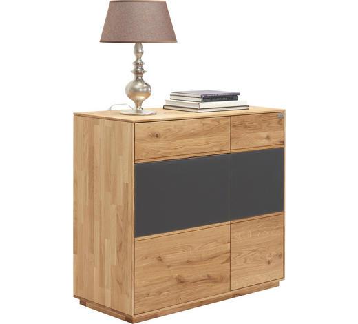 KOMODA, dub, antracitová, barvy dubu - barvy dubu/antracitová, Design, dřevo/sklo (98/89/42cm) - Valnatura