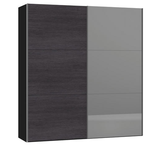 SCHWEBETÜRENSCHRANK in Anthrazit, Schwarz - Anthrazit/Silberfarben, Design, Glas/Holzwerkstoff (202,5/220/46cm) - Jutzler