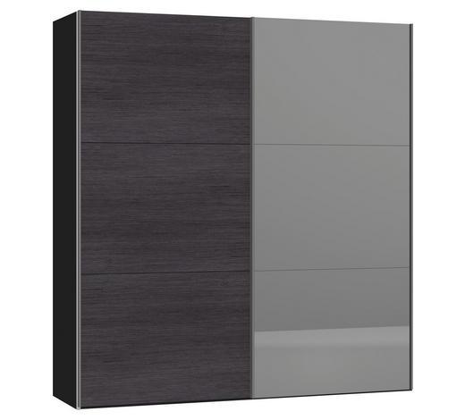 SCHWEBETÜRENSCHRANK 2-türig Anthrazit, Schwarz - Anthrazit/Silberfarben, Design, Glas/Metall (202,5/220/46cm) - Jutzler