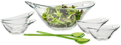 SCHÜSSELSET Kunststoff, Glas 6-teilig  - Transparent/Grün, Basics, Glas/Kunststoff - Homeware