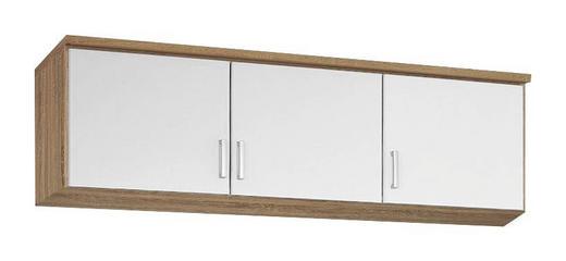 AUFSATZSCHRANK 136/39/54 cm Sonoma Eiche, Weiß - Silberfarben/Weiß, Design, Kunststoff (136/39/54cm) - Carryhome