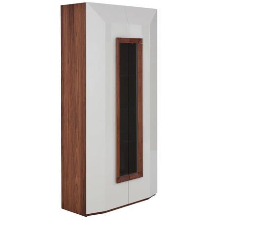 VITRINE Nussbaum furniert Weiß, Nussbaumfarben  - Nussbaumfarben/Weiß, Design, Holz (100/200/46cm) - Ambiente