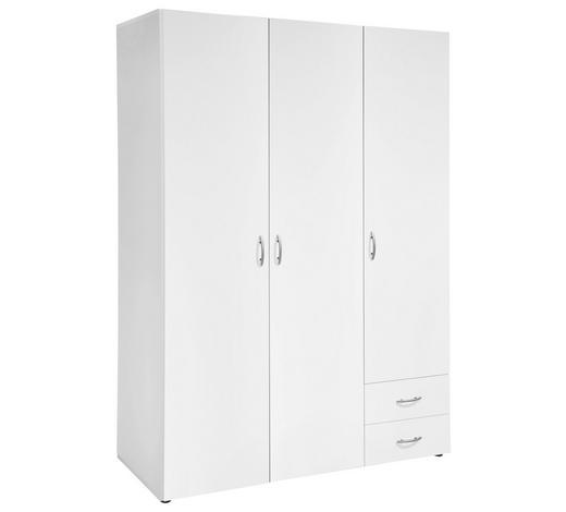DREHTÜRENSCHRANK 3-türig Weiß  - Alufarben/Weiß, Design, Holzwerkstoff/Kunststoff (121/177/52cm) - Carryhome