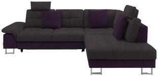 WOHNLANDSCHAFT in Textil Violett, Dunkelgrau  - Chromfarben/Dunkelgrau, Design, Textil/Metall (296/229cm) - Novel