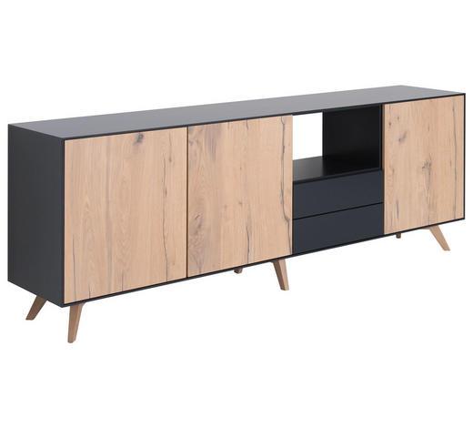 SIDEBOARD 234,3/70,6/46 cm - Eichefarben/Schwarz, Design, Holz/Holzwerkstoff (234,3/70,6/46cm) - Anrei