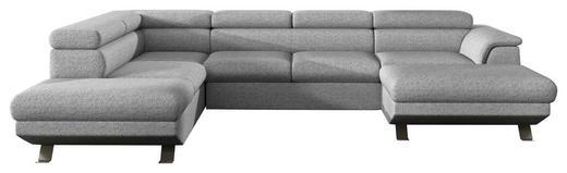 WOHNLANDSCHAFT Hellgrau Webstoff - Chromfarben/Hellgrau, Design, Textil/Metall (220/340/174cm) - Welnova