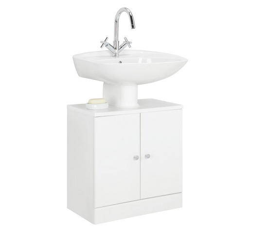 WASCHBECKENUNTERSCHRANK Weiß  - Chromfarben/Weiß, KONVENTIONELL, Holzwerkstoff (55/56/33cm) - Carryhome