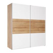 SCHWEBETÜRENSCHRANK in Eichefarben, Weiß - Eichefarben/Alufarben, Design, Holzwerkstoff/Metall (200/216/68cm) - HOM IN