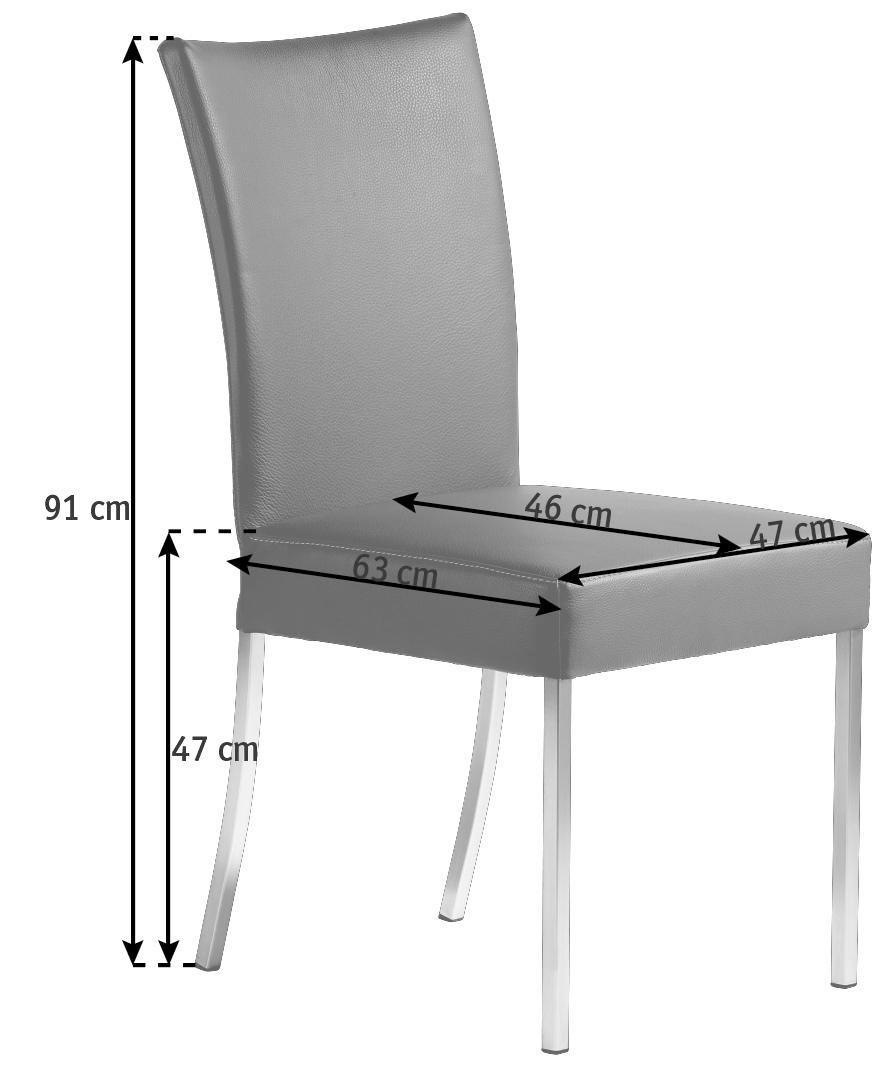 STUHL Echtleder Braun - Braun, Design, Leder/Metall (47/91/63cm) - BERT PLANTAGIE