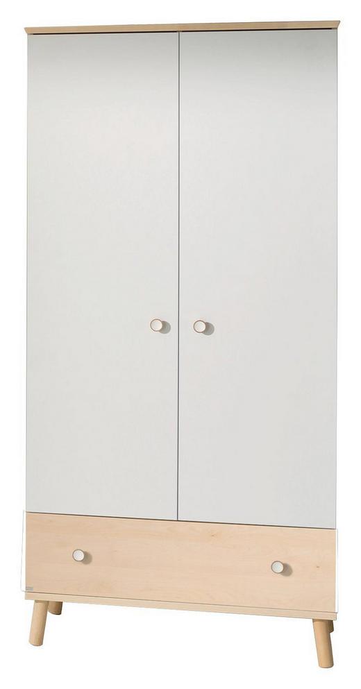 DREHTÜRENSCHRANK 2-türig Birkefarben, Weiß - Birkefarben/Weiß, Design, Holz/Holzwerkstoff (96,4/198,7/56,3cm) - Paidi