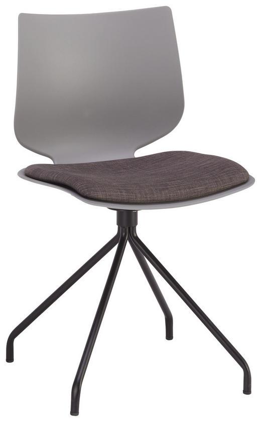 STUHL in Kunststoff, Metall, Textil Anthrazit, Grau, Schwarz - Anthrazit/Schwarz, Design, Kunststoff/Textil (49 78 51cm) - Lomoco