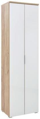 GARDEROBENSCHRANK melaminharzbeschichtet Eichefarben, Weiß - Eichefarben/Alufarben, KONVENTIONELL, Glas/Holzwerkstoff (59/197/40cm) - VOLEO
