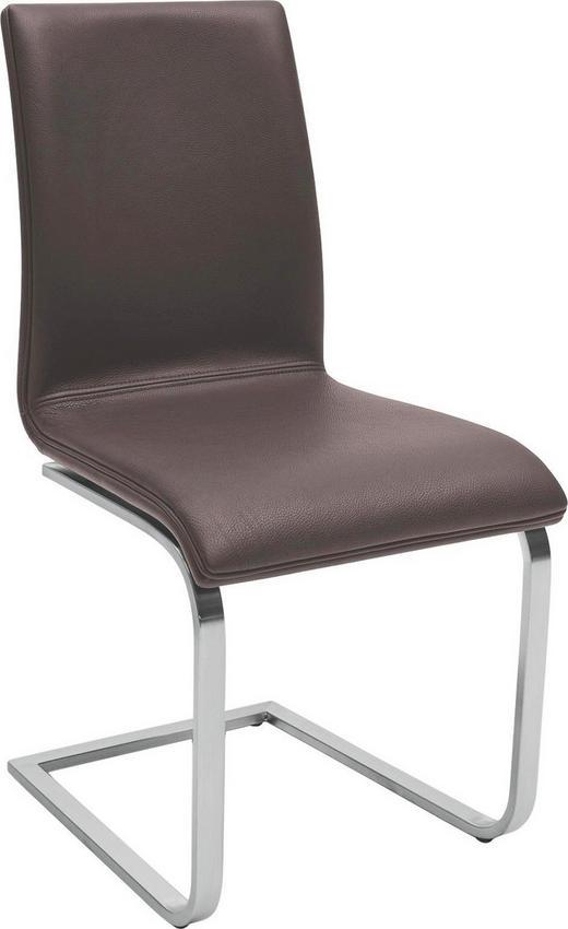 STUHL Echtleder Dunkelbraun, Edelstahlfarben - Edelstahlfarben/Dunkelbraun, Design, Leder/Metall (45/96/60cm) - Musterring