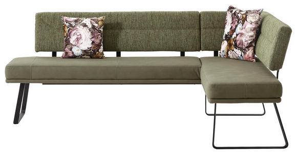 ECKBANK 225/169 cm  in Schwarz, Olivgrün  - Schwarz/Olivgrün, Design, Textil/Metall (225/169cm) - Dieter Knoll