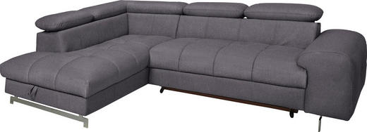 WOHNLANDSCHAFT Grau - Chromfarben/Grau, Design, Textil (206/92/262cm) - Carryhome