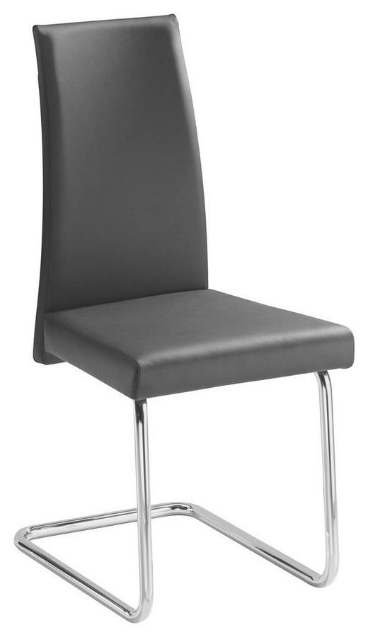 SCHWINGSTUHL in Metall, Leder Schwarz, Chromfarben - Chromfarben/Schwarz, Design, Leder/Metall (47/98/54cm) - Bacher