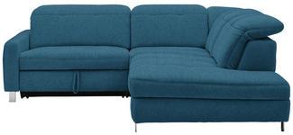 WOHNLANDSCHAFT in Textil Blau - Chromfarben/Blau, Design, Textil/Metall (251/221cm) - Dieter Knoll