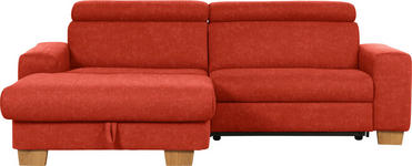 WOHNLANDSCHAFT in Textil Rot - Eichefarben/Rot, Design, Textil (178/262cm) - Hom`in