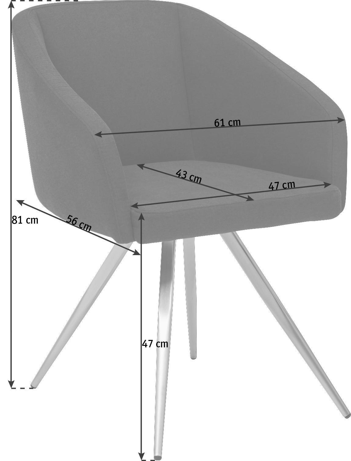 STUHL Flachgewebe, Lederlook Anthrazit, Edelstahlfarben, Schwarz - Edelstahlfarben/Anthrazit, Design, Textil/Metall (61/81/56cm) - DIETER KNOLL