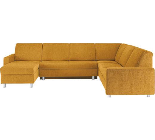 WOHNLANDSCHAFT in Textil Goldfarben - Goldfarben/Alufarben, KONVENTIONELL, Kunststoff/Textil (158/323/252cm) - Sedda